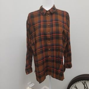 Topshop plaid blouse/tunic w/ high side slits